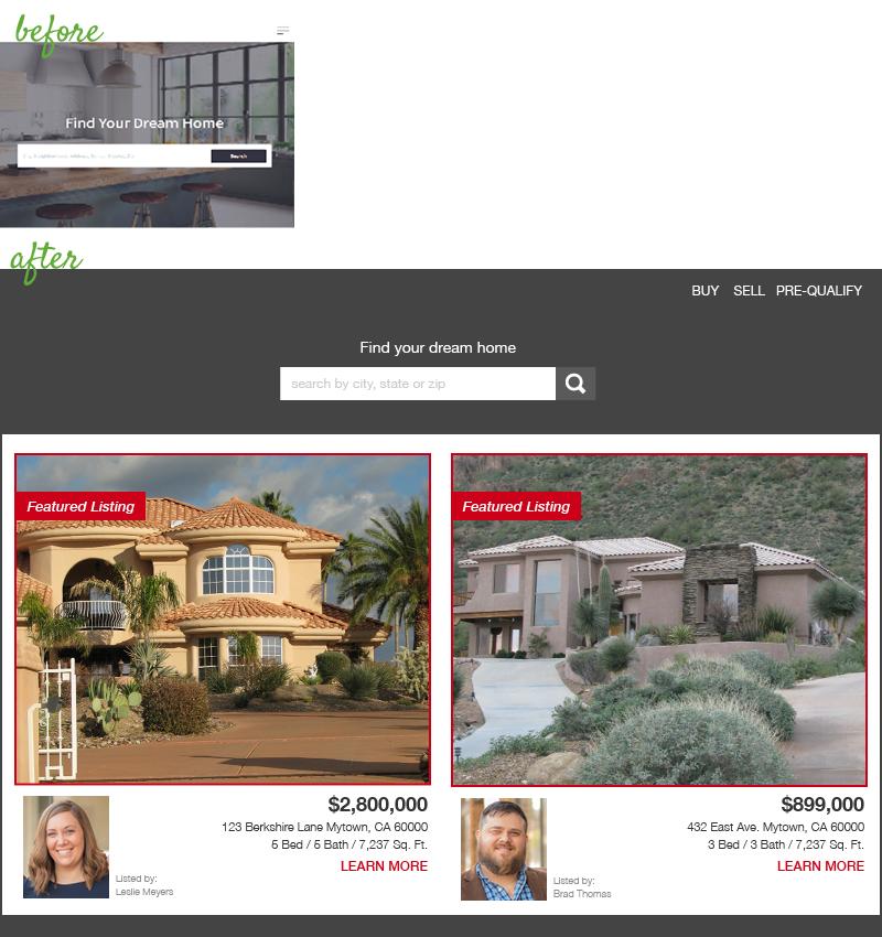 Website redesign: real estate brokerage before & after